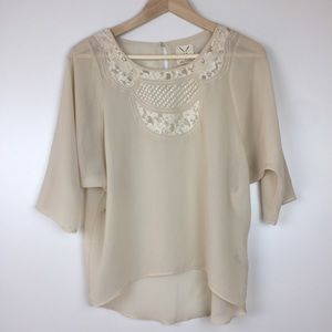 Pins & Needles sheer top with lace size Small
